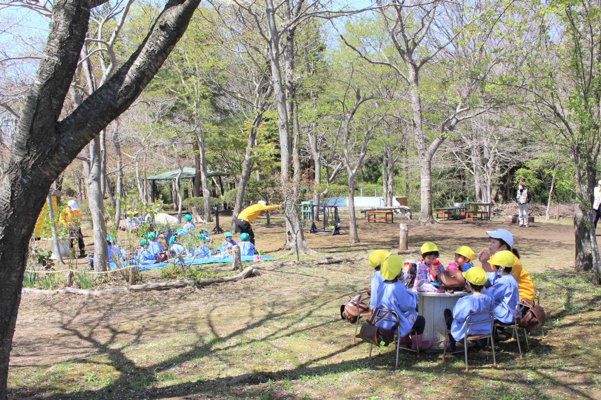 桜の木の下に座る子どもたちの様子
