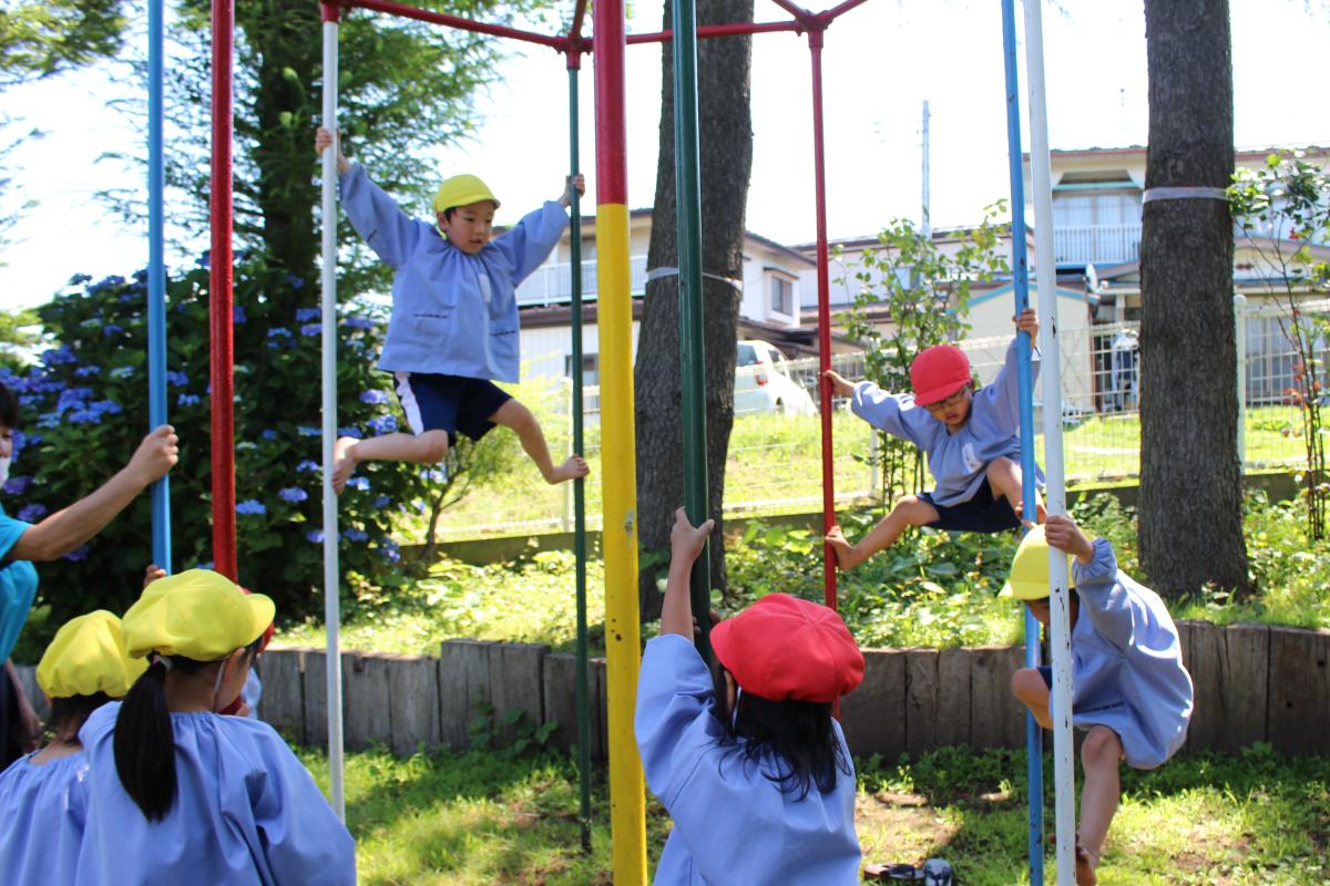 登り棒を楽しむ園児の様子